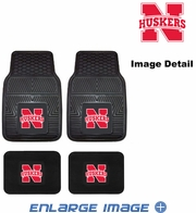 Front & Rear Seat Vinyl Floor Mats - Car Truck SUV - UN University of Nebraska Cornhuskers