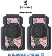 Front Seat Heavy Duty Trim-to-Fit Floor Mats - Car Truck SUV - Camouflage - Browning Arms Company - Black Buckmark - Pink Print