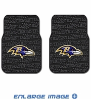 Front Seat Rubber Floor Mats - Car Truck SUV - Baltimore Ravens