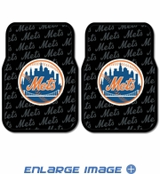 Front Seat Rubber Floor Mats - Car Truck SUV - New York Mets