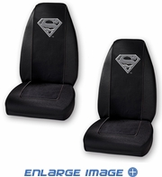 Front Universal Bucket Seat Covers - Car Truck SUV - DC Comics - Superman - Silver Shield Logo - PAIR