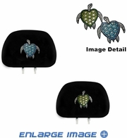 Headrest Covers - Crystal Studded Rhinestone Bling - Car Truck SUV - Blue and Green Turtles with Stars and Hearts
