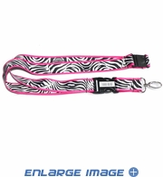 Lanyard with Key Chain Clip - Animal Print - White Zebra with Pink Trim