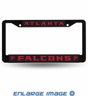 License Plate Frame - Car Truck SUV - Black Metal - NFL - Atlanta Falcons
