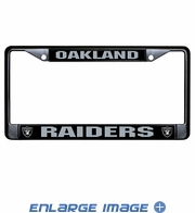 License Plate Frame - Car Truck SUV - Black Metal - NFL - Oakland Raiders