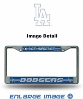 License Plate Frame - Chrome Metal - Glitter - Car Truck SUV - MLB - Los Angeles Dodgers