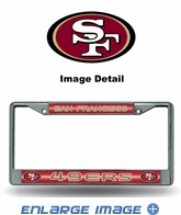 License Plate Frame - Chrome Metal - Glitter - Car Truck SUV - NFL - San Francisco 49ers