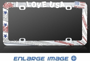 License Plate Frame - Crystal Metal - Car Truck SUV - American Flag - I Love USA
