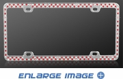 License Plate Frame - Crystal Metal - Car Truck SUV - Mixed Row - Red and White