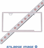 License Plate Frame - Metal - Car Truck SUV - Swarovski Crystals - Slim Chrome - Pink