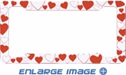 License Plate Frame - Plastic - Car Truck SUV - Hearts - Red and White