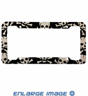 License Plate Frame - Skulls - White Skull and Crossbones