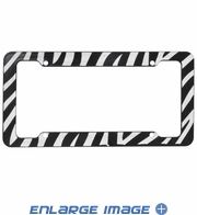 License Plate Frame - Zebra White Tiger