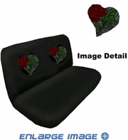 Rear Bench Seat Cover - Crystal Studded Rhinestone Bling - Heart Rose