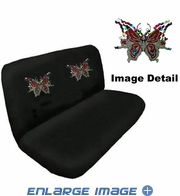 Rear Bench Seat Cover - Crystal Studded Rhinestone Bling - Multi Butterflies