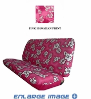 Rear Car Truck SUV Bench Seat Cover - Hawaiian Aloha - Hibiscus Flower - Pink