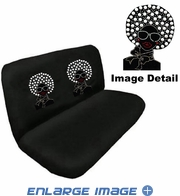 Rear Car Truck SUV Bench Seat Cover - Rhinestudded - Disco Afro Girl