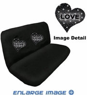 Rear Car Truck SUV Bench Seat Cover - Rhinestudded - Hearts Love - White