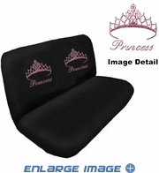 Rear Car Truck SUV Bench Seat Covers - Crystal Studded Rhinestone Bling - Pink Princess w/ Cute Crown