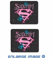 Rear Seat Utility Rubber Floor Mats - DC Comics - Supergirl - Shield with Stars and Butterflies - PAIR