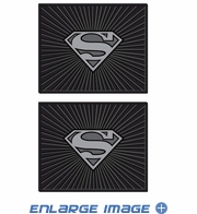 Rear Seat Utility Rubber Floor Mats - DC Comics - Superman - Silver Shield - PAIR