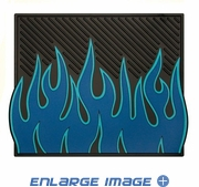 Rear Utility Floor Mats - Car Truck SUV - Flames - Blue and Light Blue