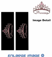 Seat Belt Shoulder Pad - Bling Crystals Studded Rhinestone - Princess Script with Crown - pair