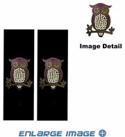 Seat Belt Shoulder Pad - Bling Crystals Studded Rhinestone - Purple Owl with Hearts - pair