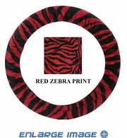 Steering Wheel Cover - Car Truck SUV - Elastic Scrunchie - Animal Print - Zebra - Burgundy Red
