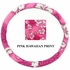 Steering Wheel Cover - Car Truck SUV - Elastic Scrunchie - Hawaiian Print - Pink