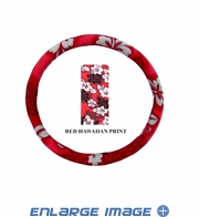 Steering Wheel Cover - Car Truck SUV - Elastic Scrunchie - Hawaiian Print - Red