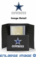 Wallet - Tri-Fold - Embroidered Leather - Black - Dallas Cowboys