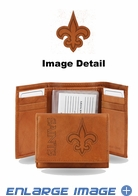 Wallet - Tri-Fold - Embroidered Leather - New Orleans Saints