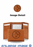 Wallet - Tri-Fold - Embroidered Leather - Pittsburgh Steelers