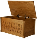 ABC Full Alphabet Wooden Toy Box/Toy Chest, Natural-Made in USA