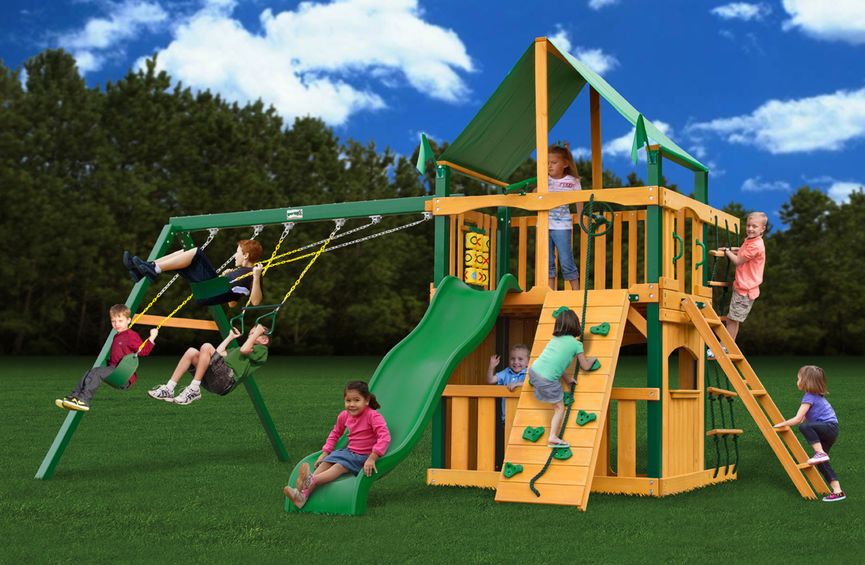 Chateau Ii Clubhouse Deluxe Wooden Playset By Gorilla Playset Free
