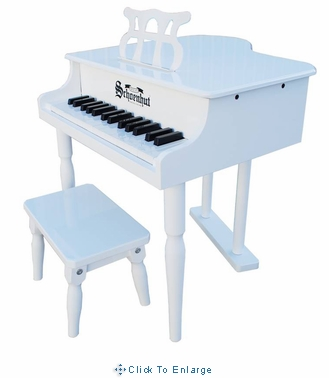 Children's Piano - 30 Key Classic Baby Grand piano by Schoenhut, White, Black or Pink