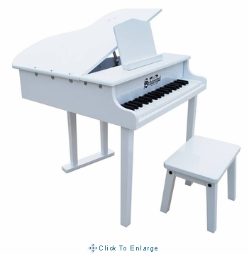 Children's Piano - 37 Key Concert Grand Piano with Opening Top by Schoenhut in White