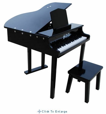Children's Piano - 37 Key Concert Grand Piano with Opening Top by Schoenhut in Black