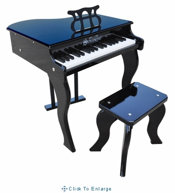 Children's Toy Piano- SCHOENHUT 37 key ELITE Baby Grand Piano w/ Bench in Black