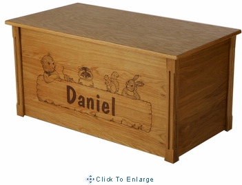 Dream Toy Box-Animal Critters Personalized Wooden Toy Chest/Toy Box in Natural-Made in USA
