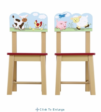 Guidecraft Farm Friends Kids Chairs Set of 2