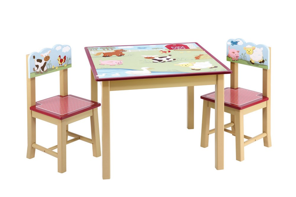 ad5e14974468 Guidecraft Farm Friends Kids Table   2 Chairs Set - Free Shipping