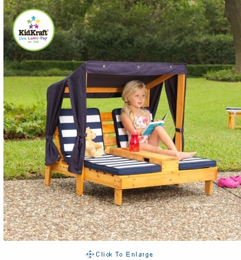 KidKraft Outdoor Wooden Double Chaise Lounger with Cup Holder, Navy and White stripes