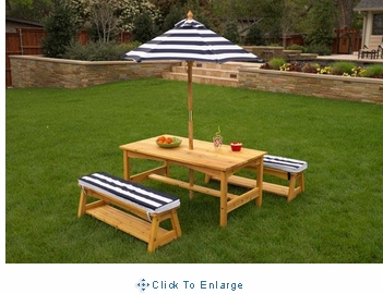 KidKraft Outdoor Woodentable & bench set with cushions & umbrella