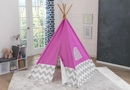 Kids Play Teepee in pink & gray chevron