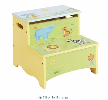 Kids step stool- Savanna Smiles Storage Step-Up
