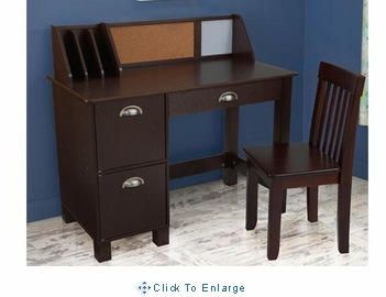 Kids study desk Chair Set with side drawers in espresso