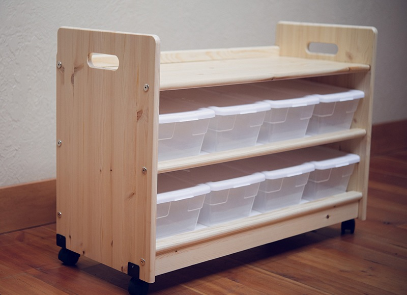 Kids Wooden Toy Organizer W Bins Casters Free Shipping
