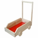 Mobile Wooden Cart-Walker with Upright Handle